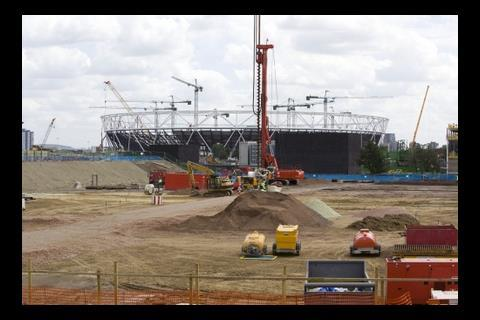 Construction work on the handball arena, July 2009